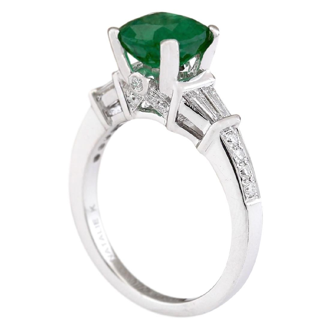 2.38 CTW Natural Emerald And Diamond Ring In 18K White - 3