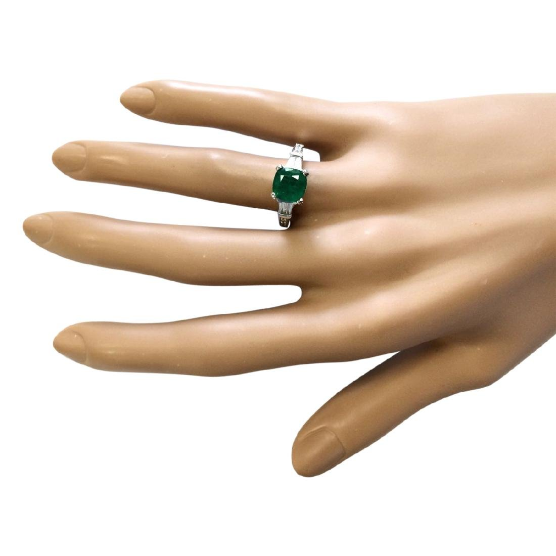 2.38 CTW Natural Emerald And Diamond Ring In 18K White - 4