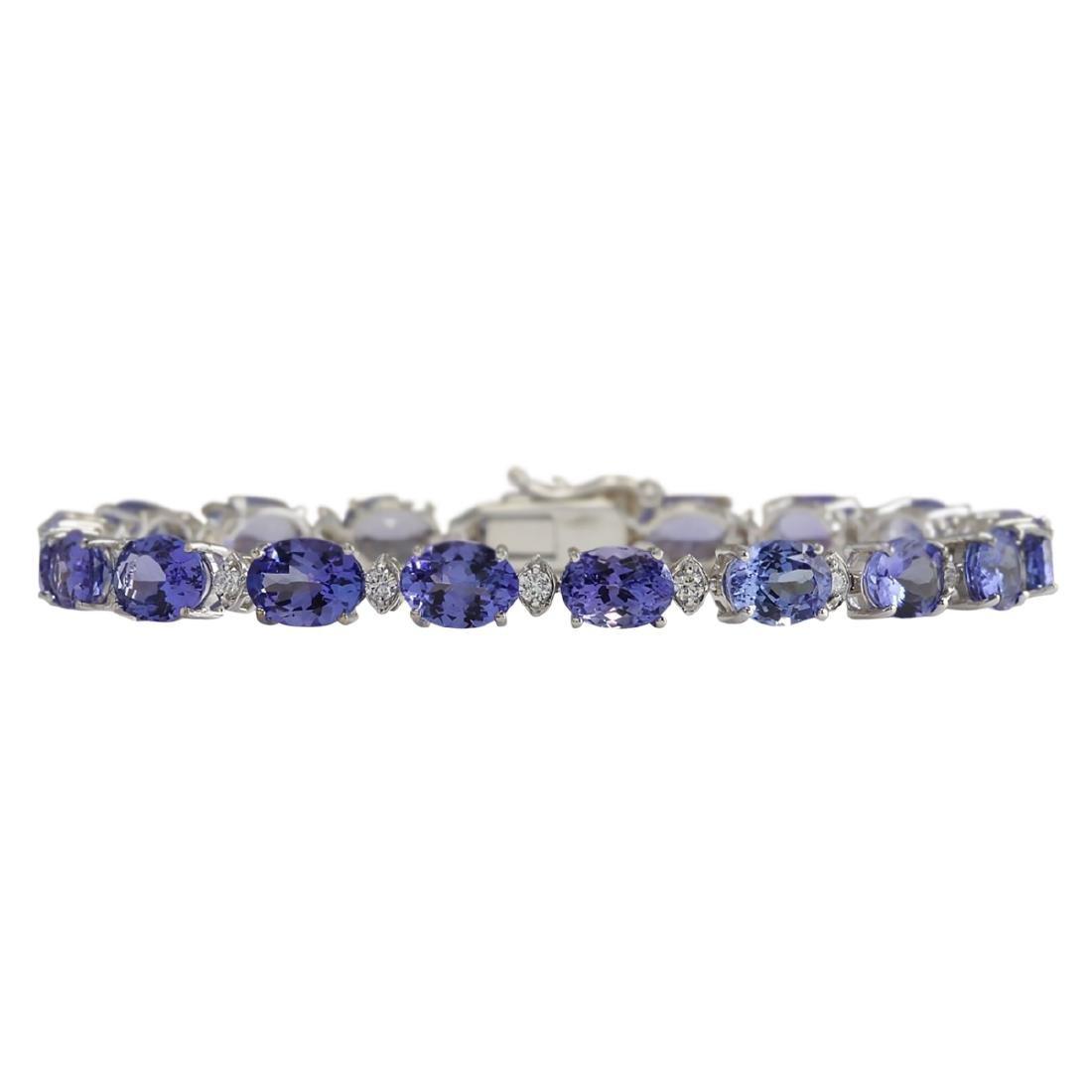 23.35 CTW Natural Tanzanite And Dimond Bracelet In 18K