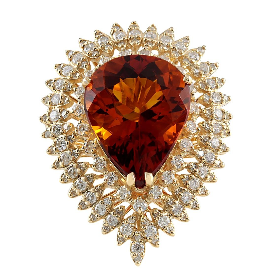 17.40CTW Natural Madeira Citrine And Diamond Ring 18K