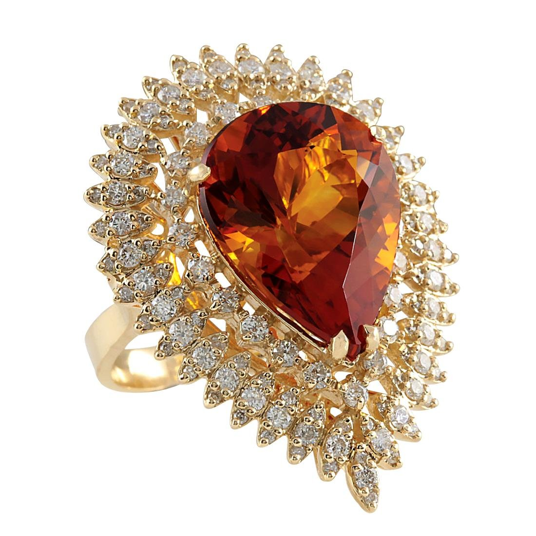17.40CTW Natural Madeira Citrine And Diamond Ring 18K - 2