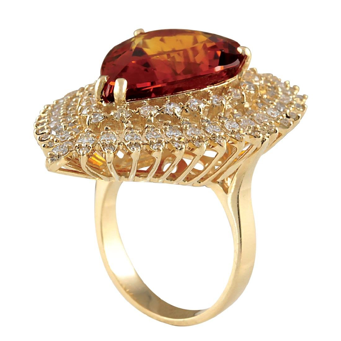 17.40CTW Natural Madeira Citrine And Diamond Ring 18K - 3