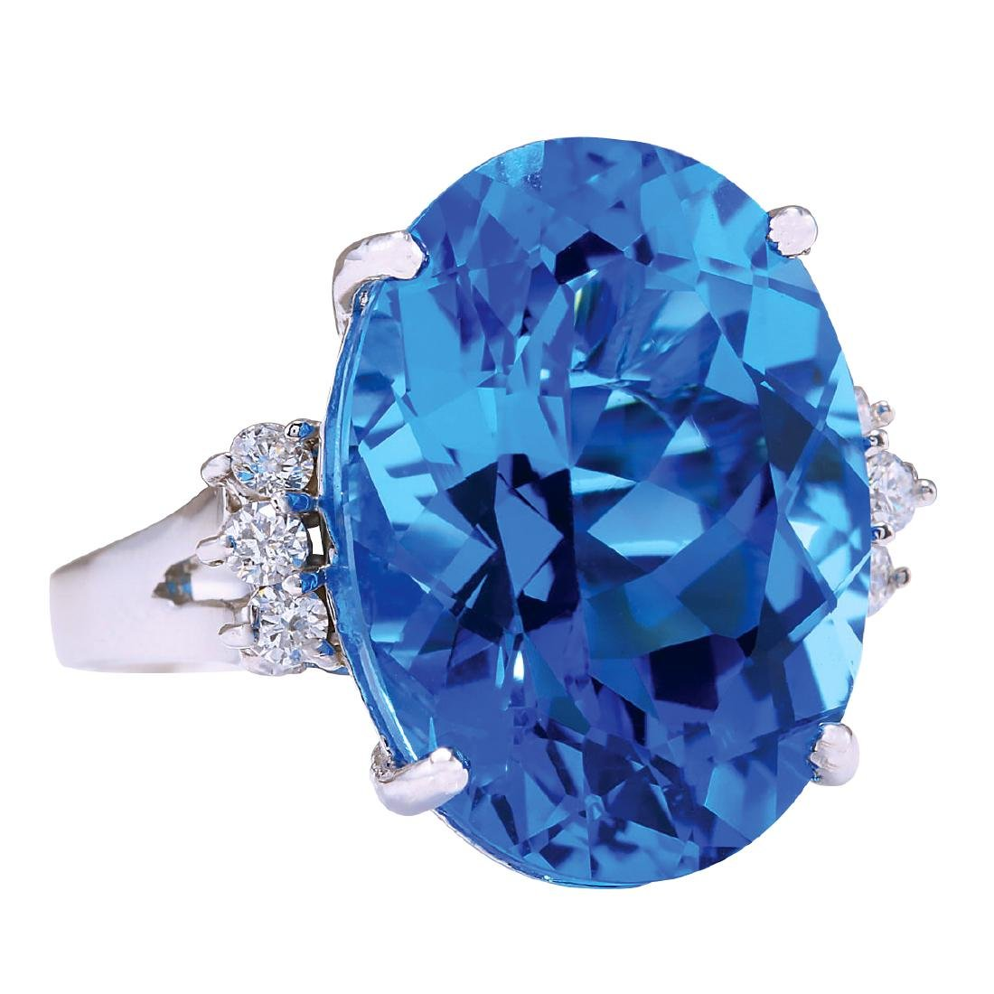 23.30CTW Natural Topaz And Diamond Ring In 18K White - 2