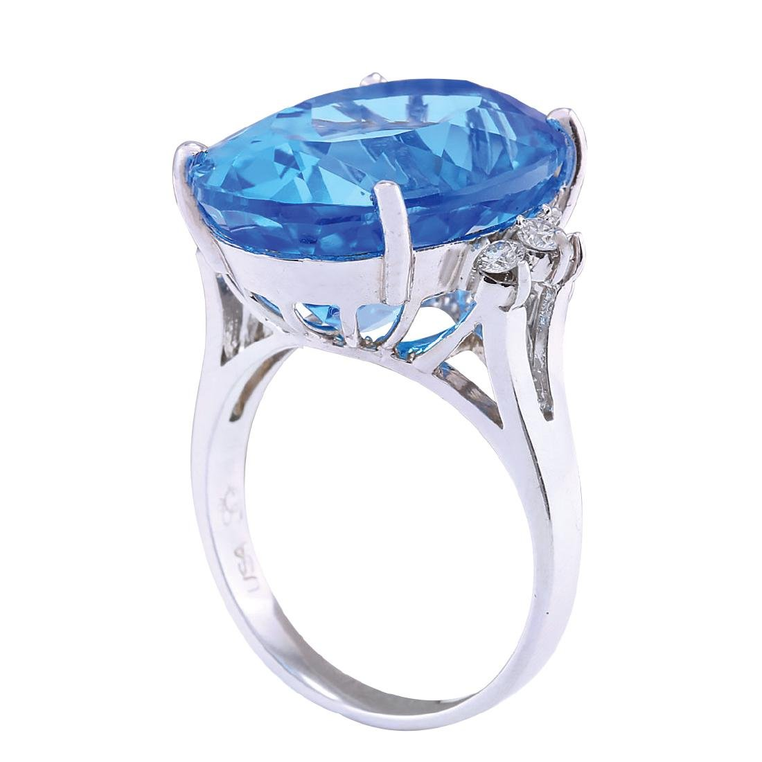 23.30CTW Natural Topaz And Diamond Ring In 18K White - 3