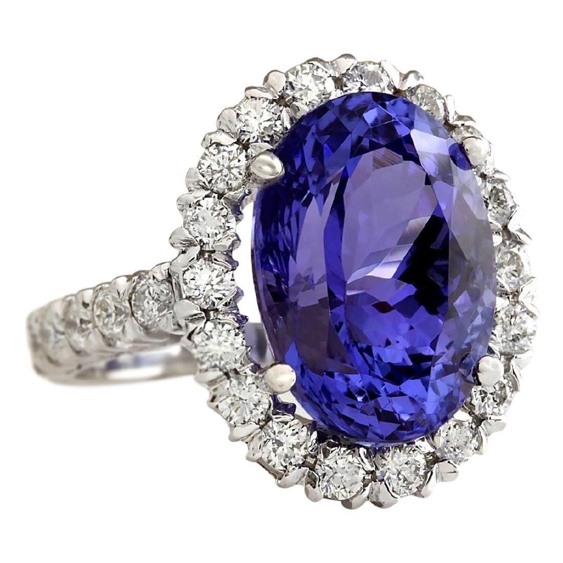10.66 CTW Natural Blue Tanzanite And Diamond Ring In - 2