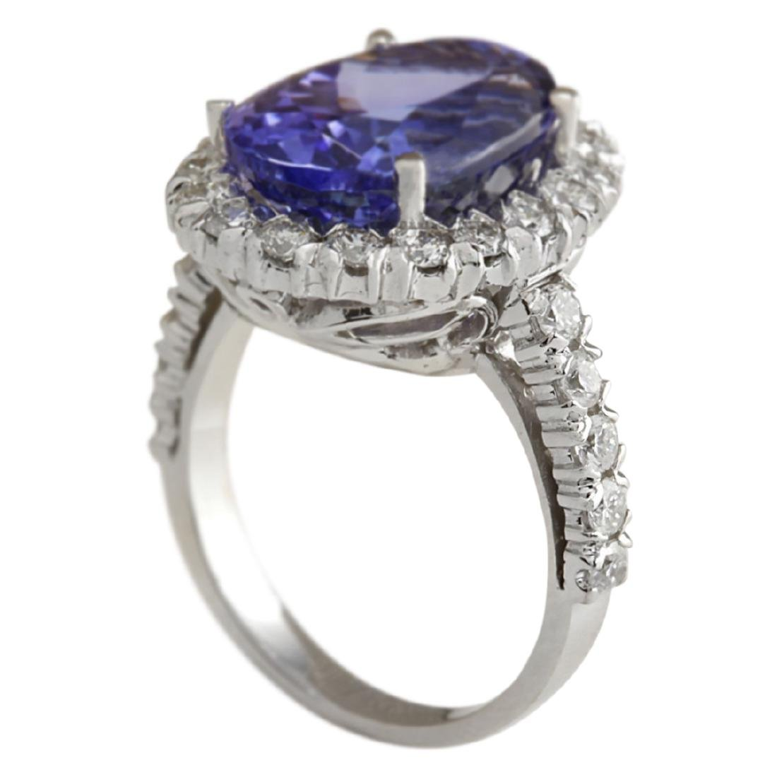 10.66 CTW Natural Blue Tanzanite And Diamond Ring In - 3
