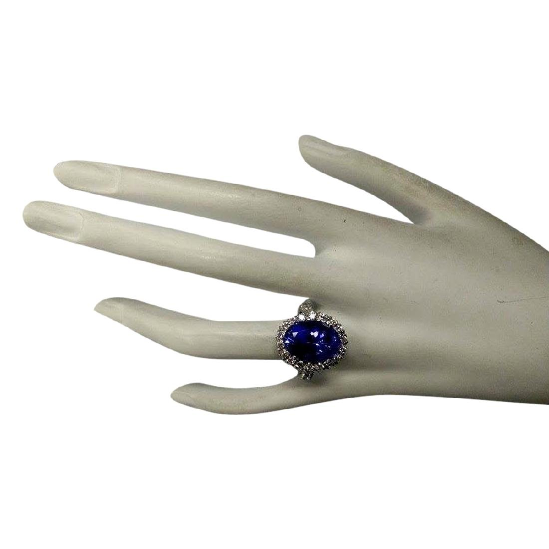10.66 CTW Natural Blue Tanzanite And Diamond Ring In - 4