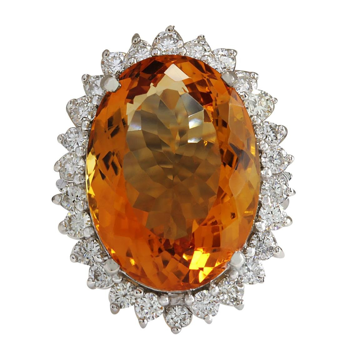 17.30CTW Natural Citrine And Diamond Ring 18K Solid