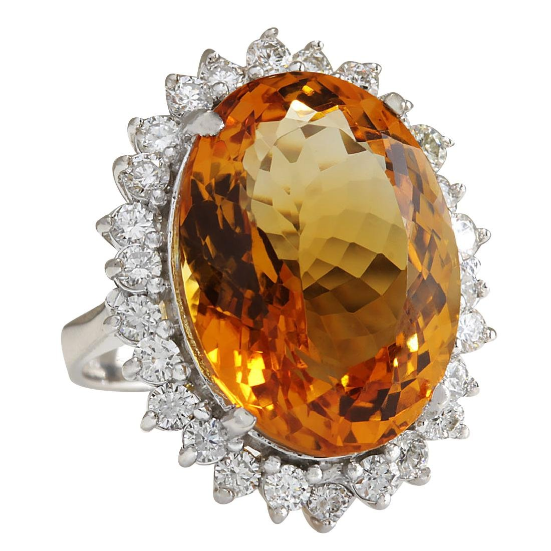 17.30CTW Natural Citrine And Diamond Ring 18K Solid - 2
