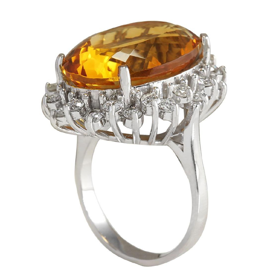 17.30CTW Natural Citrine And Diamond Ring 18K Solid - 3