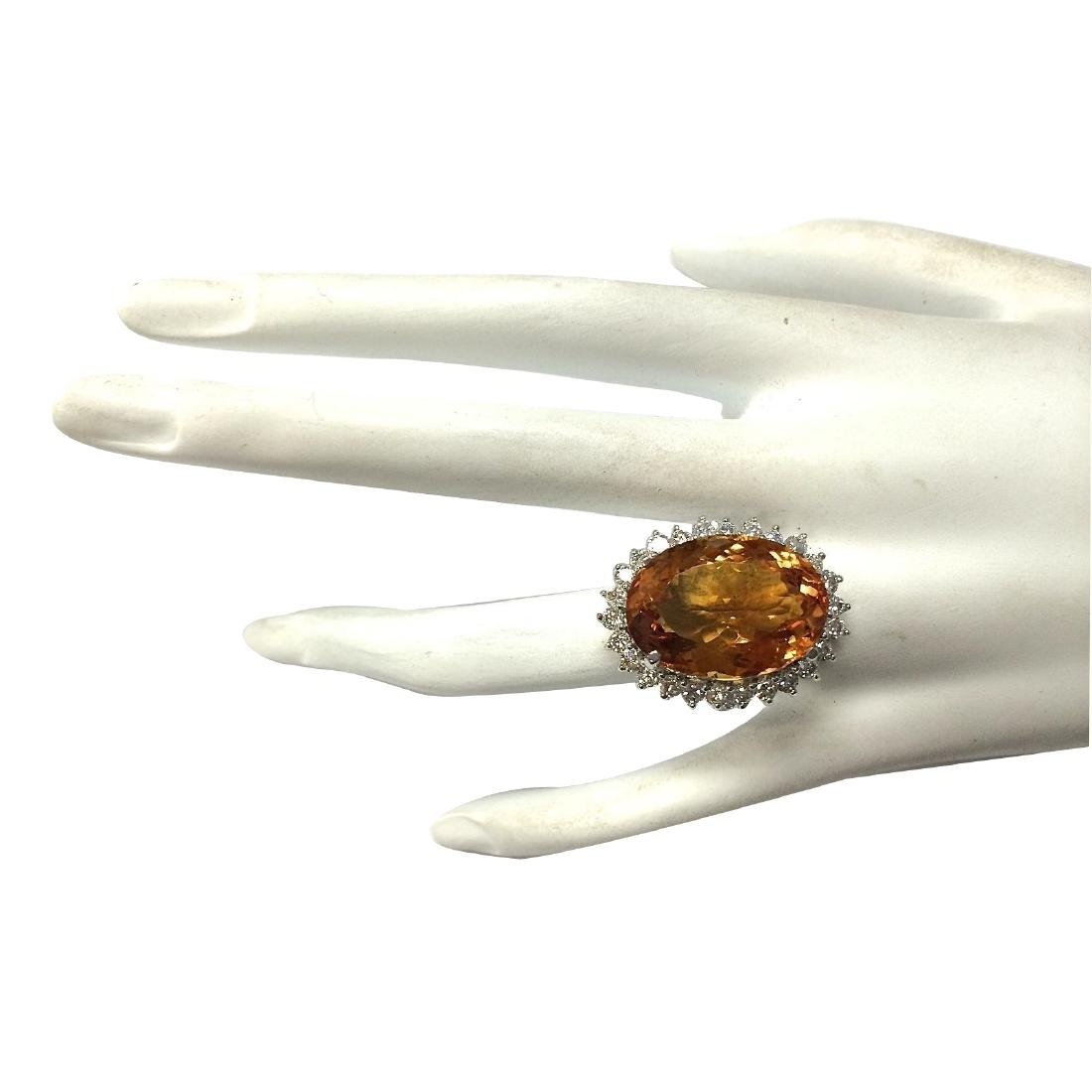 17.30CTW Natural Citrine And Diamond Ring 18K Solid - 4