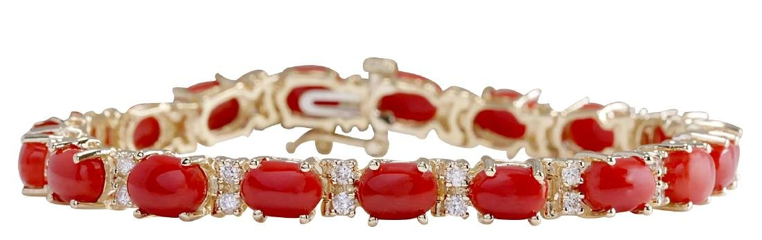 18.44CTW Natural Red Coral And Diamond Bracelet In 18K