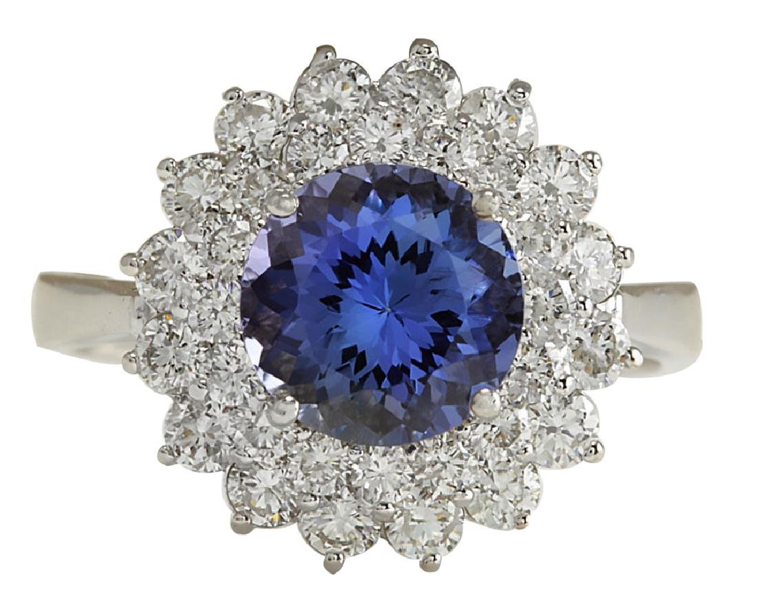 3.45CTW Natural Blue Tanzanite And Diamond Ring In 18K