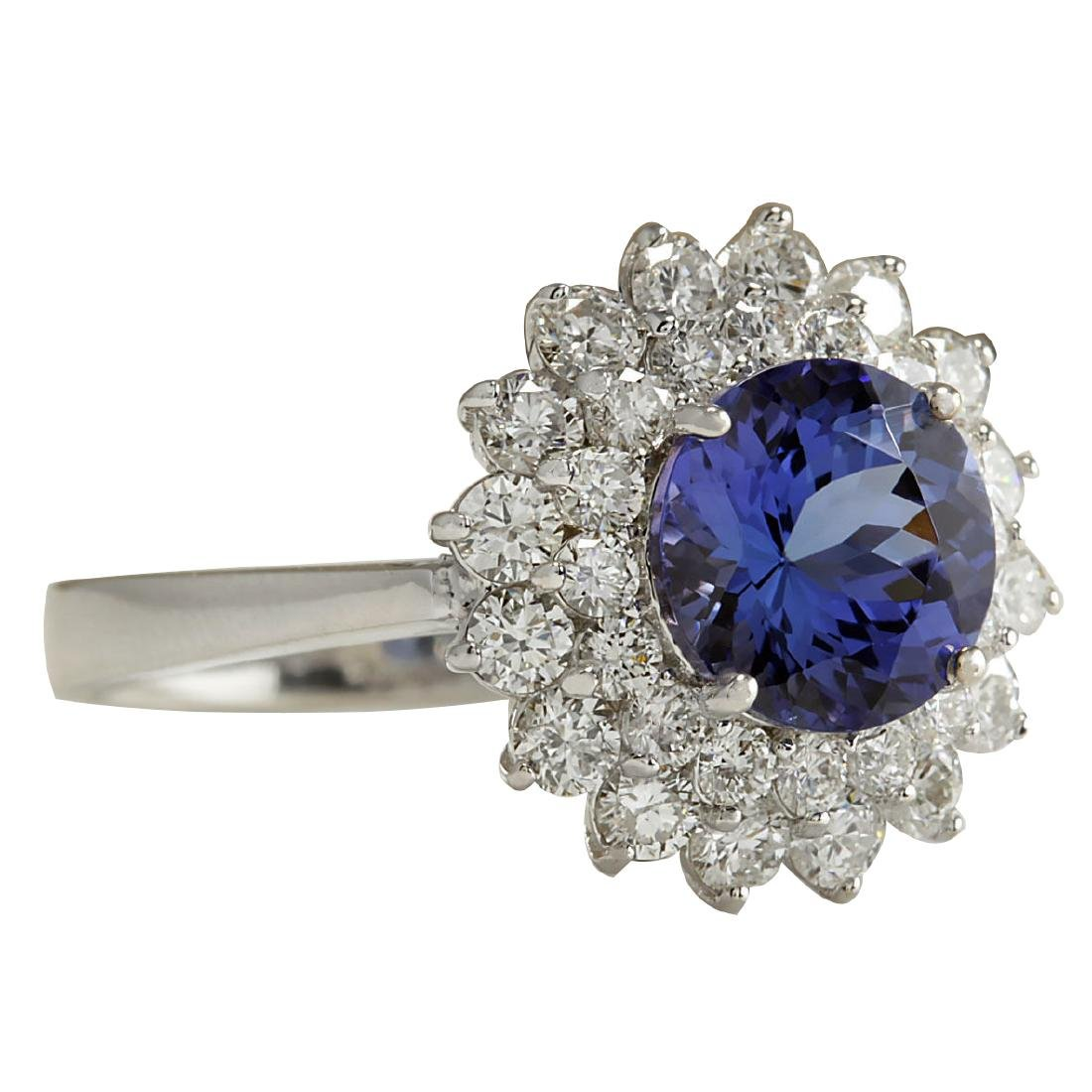 3.45CTW Natural Blue Tanzanite And Diamond Ring In 18K - 2