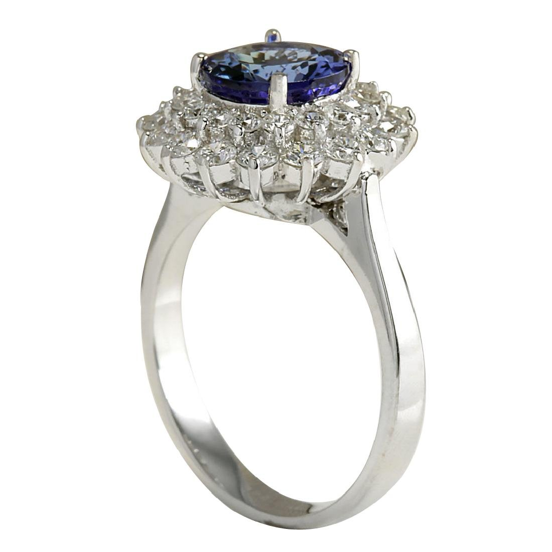 3.45CTW Natural Blue Tanzanite And Diamond Ring In 18K - 3