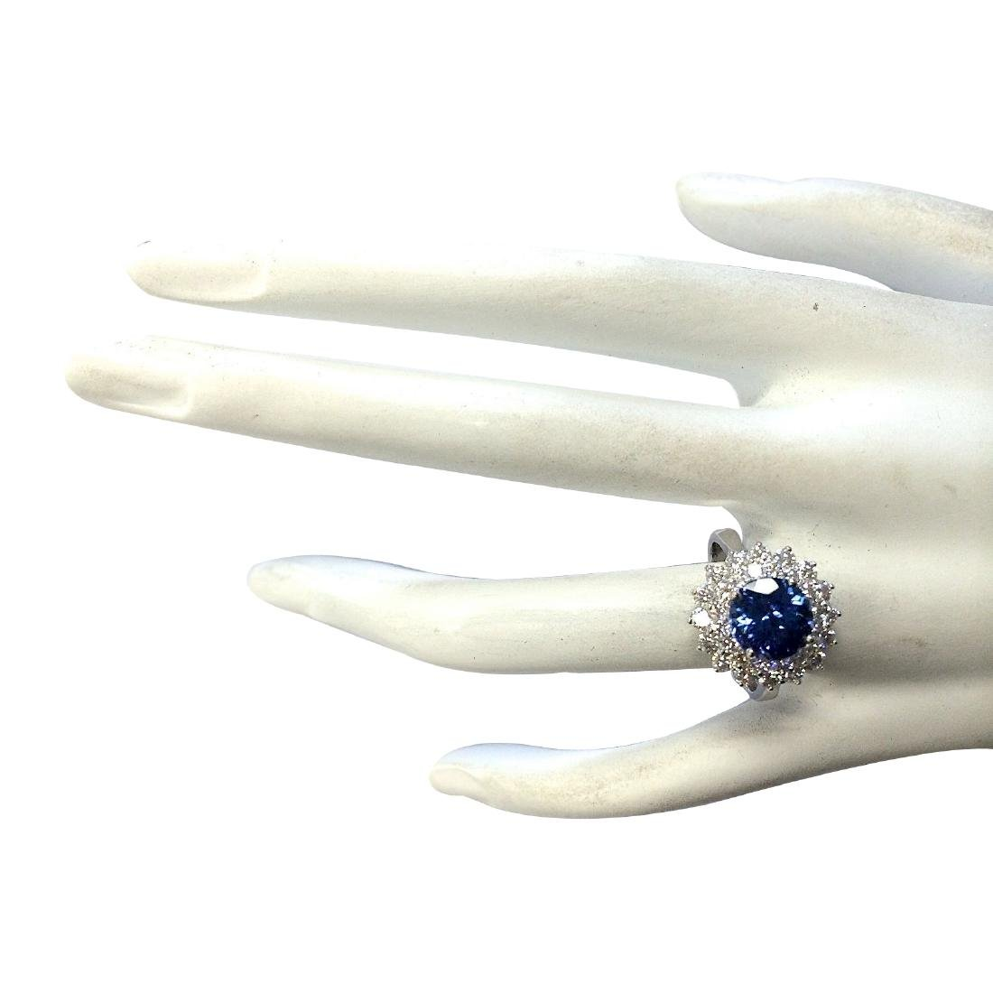 3.45CTW Natural Blue Tanzanite And Diamond Ring In 18K - 4