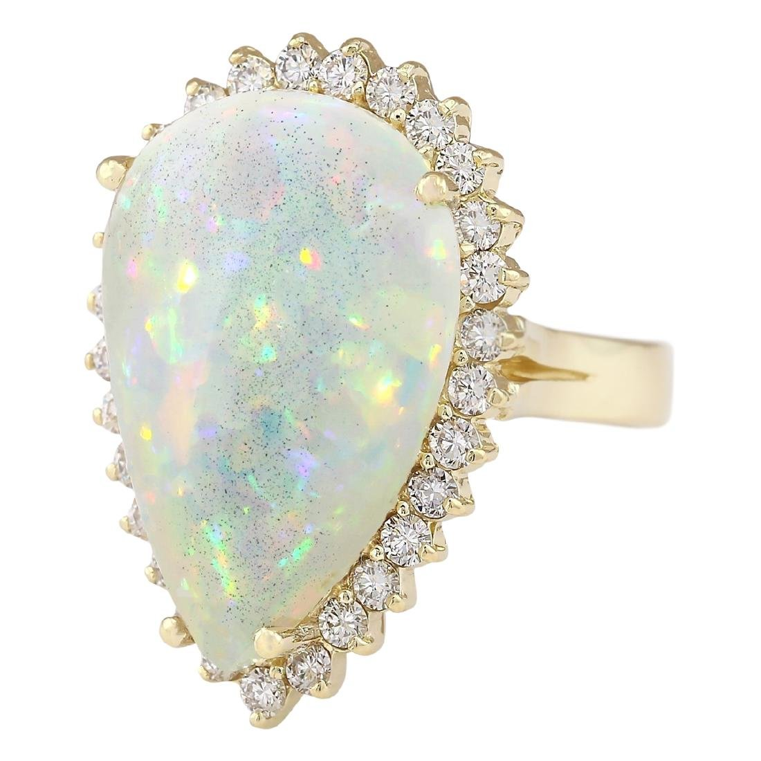 14.02 CTW Natural Opal And Diamond Ring In 18K Yellow - 2