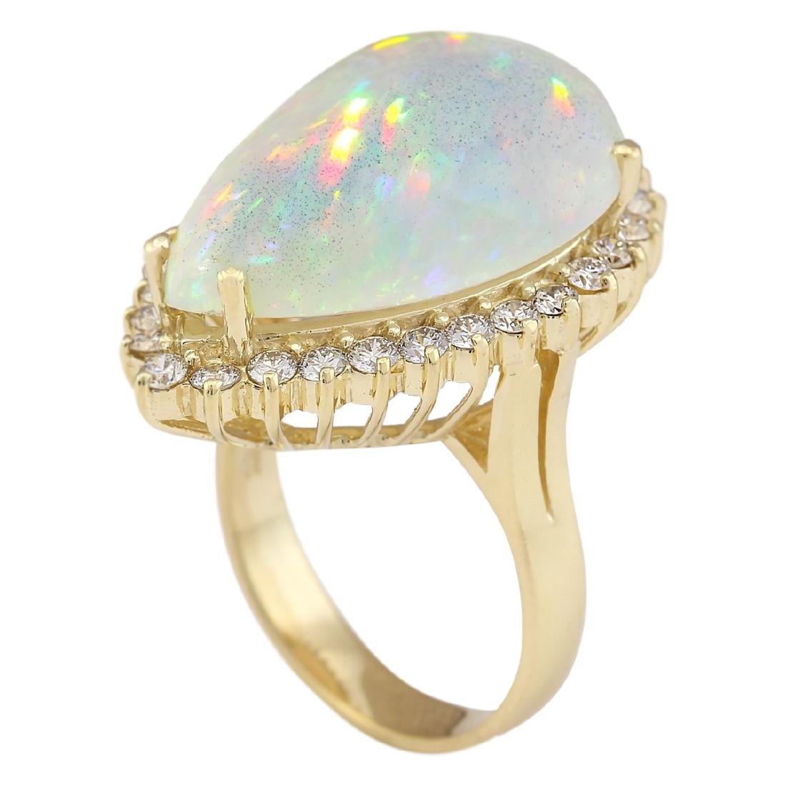 14.02 CTW Natural Opal And Diamond Ring In 18K Yellow - 3