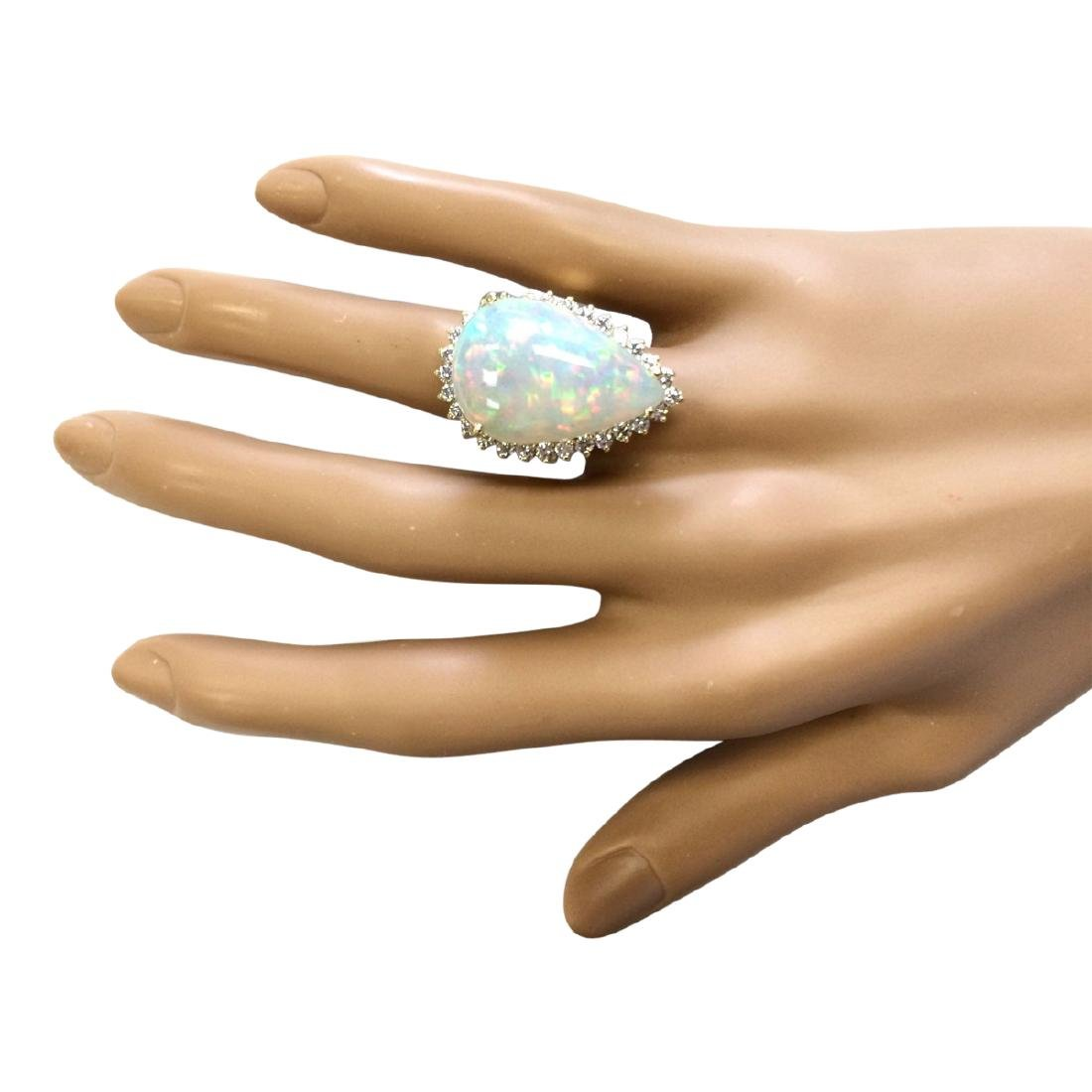 14.02 CTW Natural Opal And Diamond Ring In 18K Yellow - 4