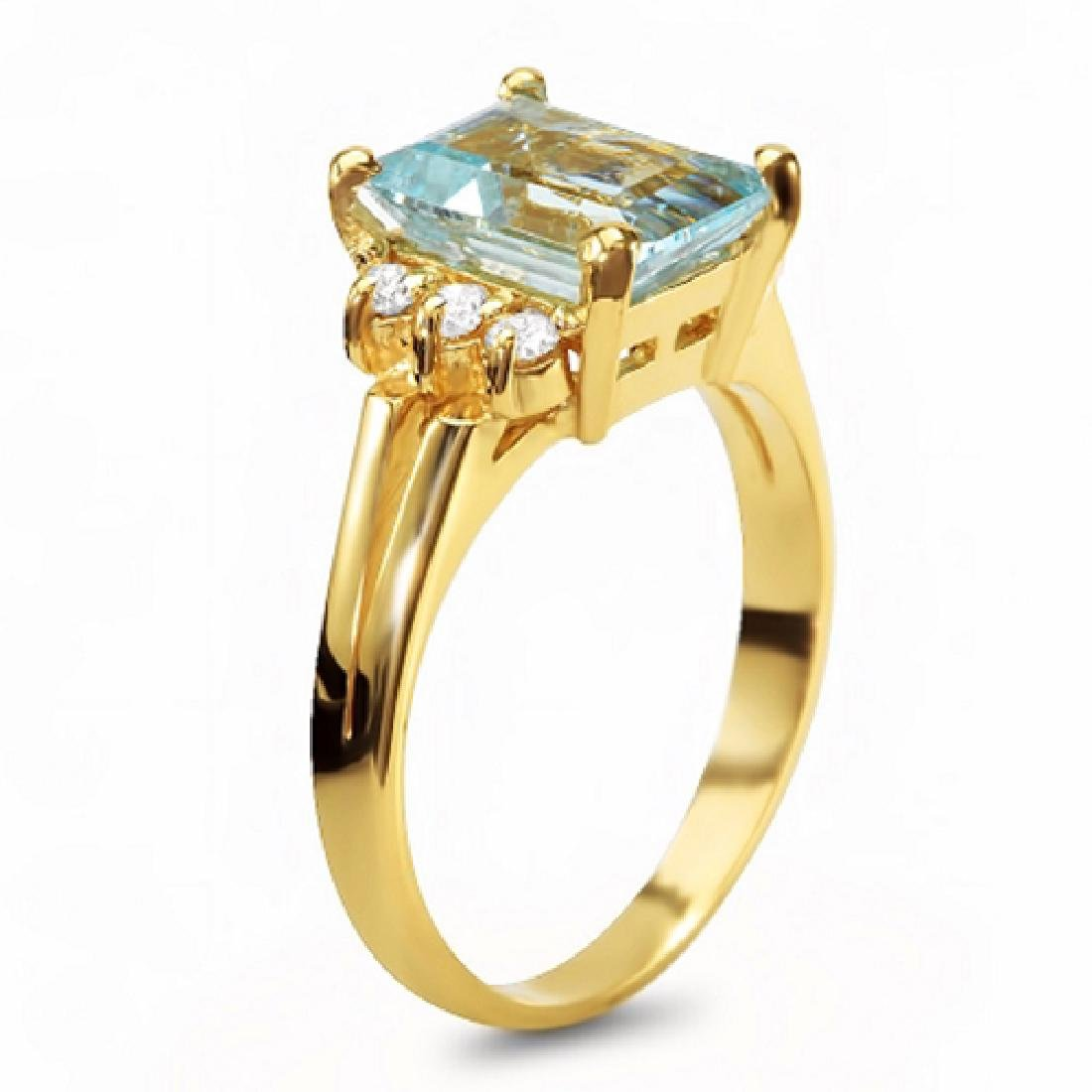 2.16 Carat Natural Aquamarine 18K Solid Yellow Gold - 2