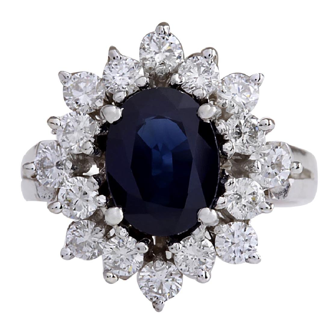3.00CTW Natural Blue Sapphire And Diamond Ring 18K