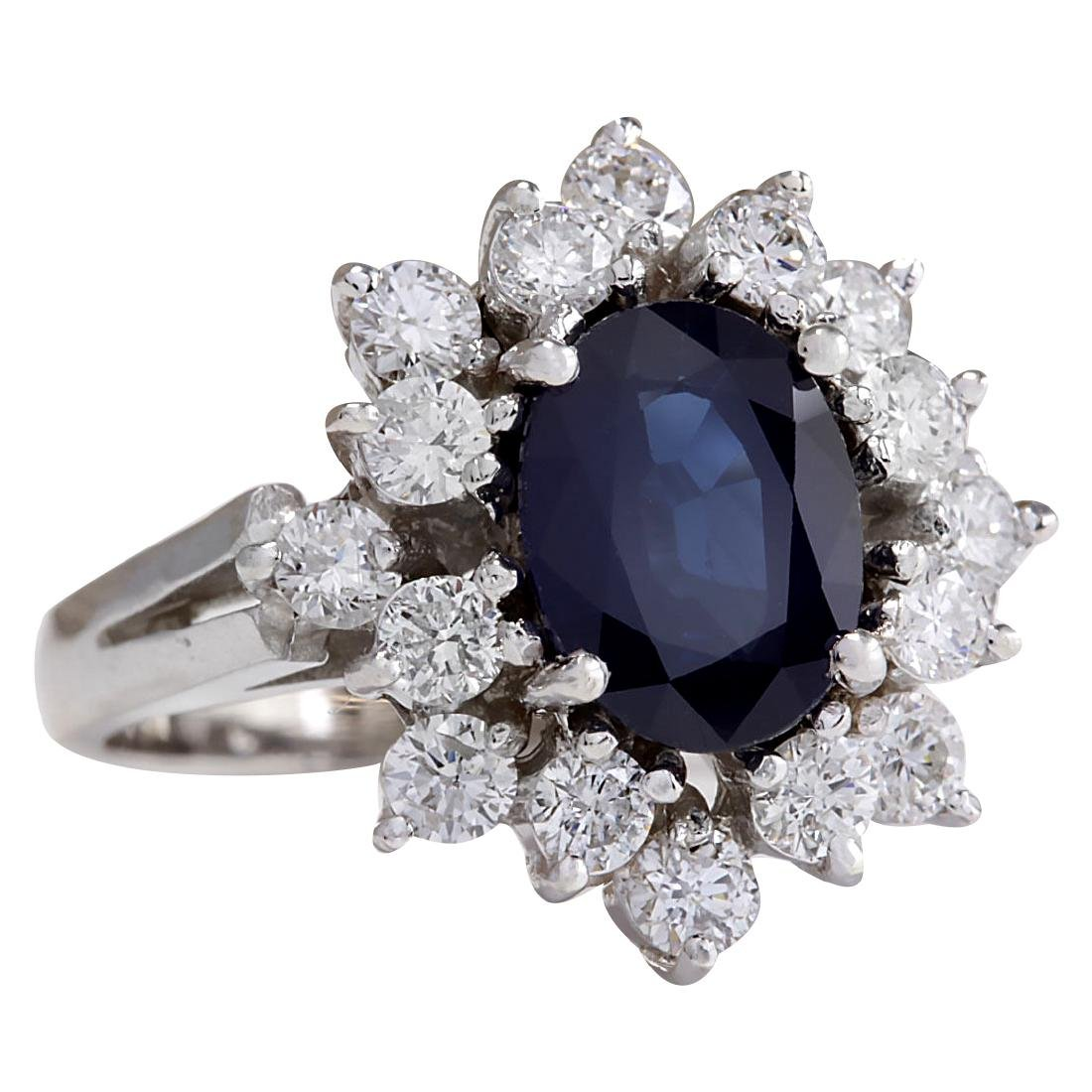 3.00CTW Natural Blue Sapphire And Diamond Ring 18K - 2