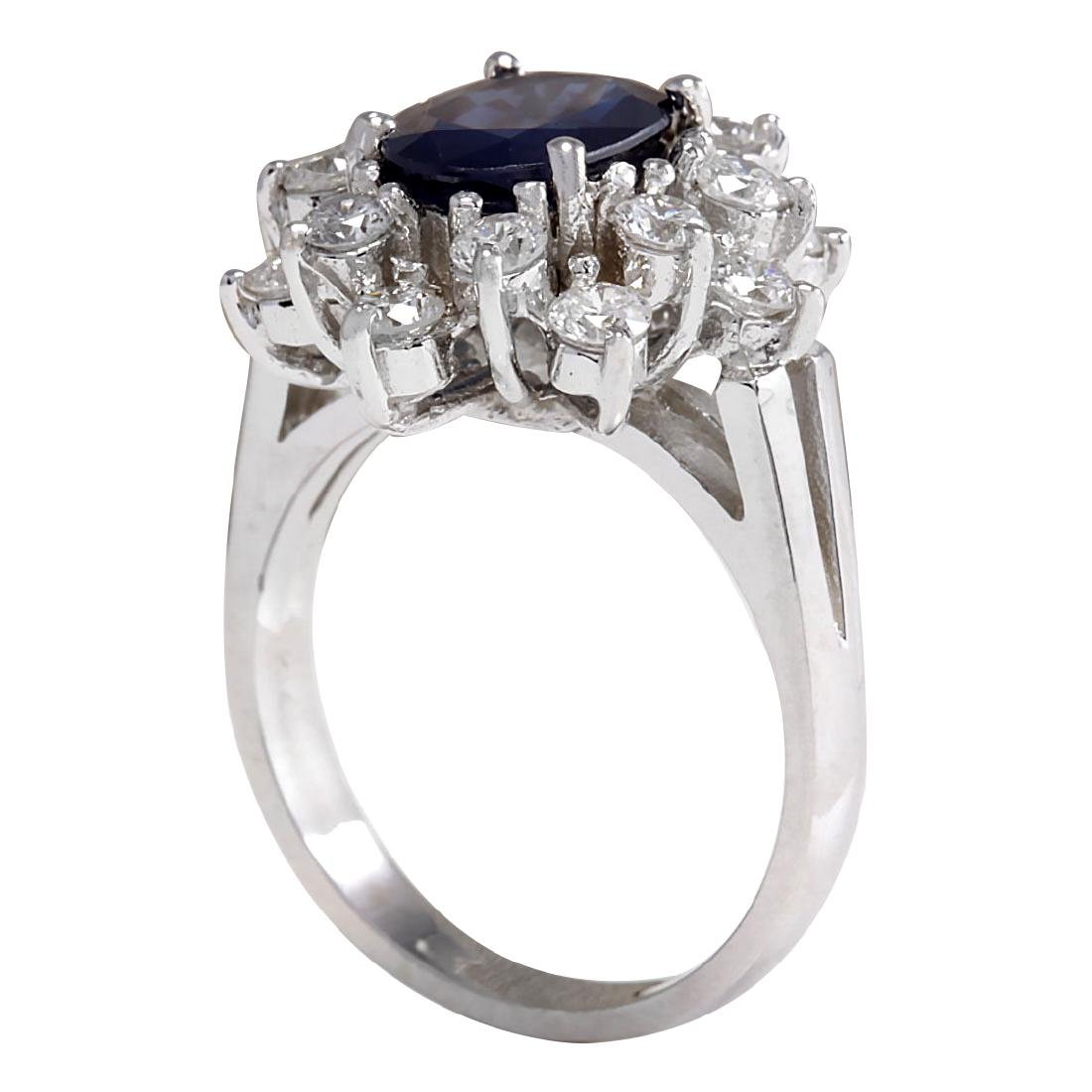 3.00CTW Natural Blue Sapphire And Diamond Ring 18K - 3