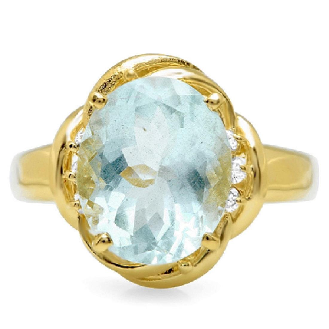 4.38 Carat Natural Aquamarine 18K Solid Yellow Gold
