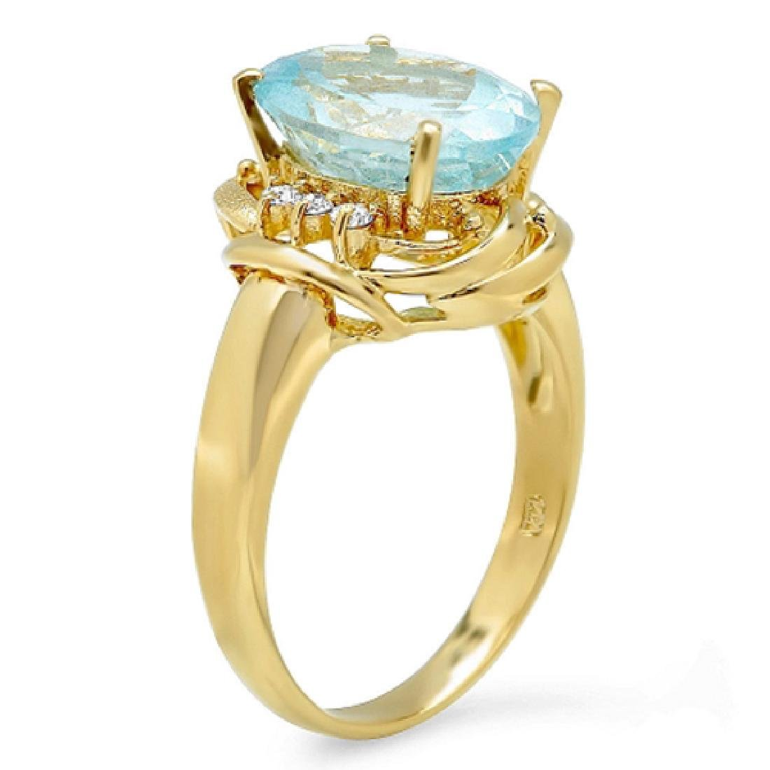 4.38 Carat Natural Aquamarine 18K Solid Yellow Gold - 2