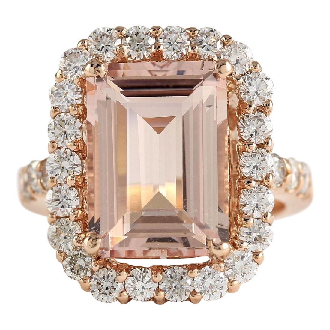 8.33 CTW Natural Morganite And Diamond Ring In 18K Rose