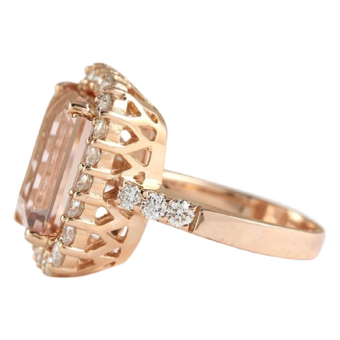 8.33 CTW Natural Morganite And Diamond Ring In 18K Rose - 2