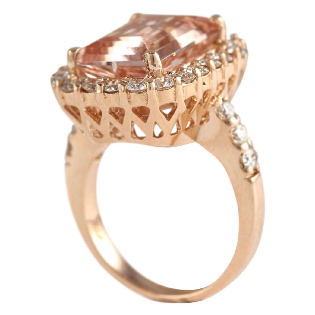 8.33 CTW Natural Morganite And Diamond Ring In 18K Rose - 3