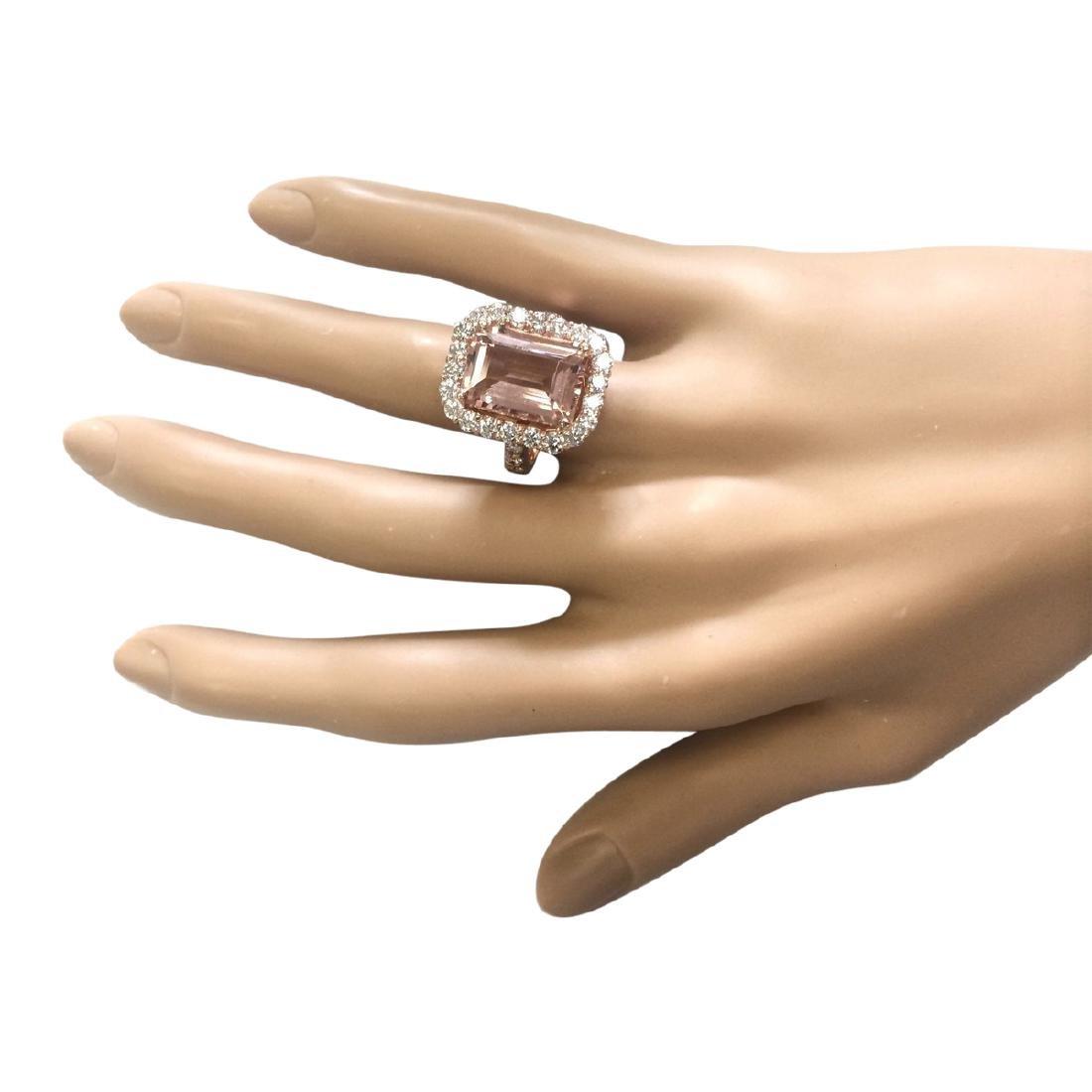 8.33 CTW Natural Morganite And Diamond Ring In 18K Rose - 4