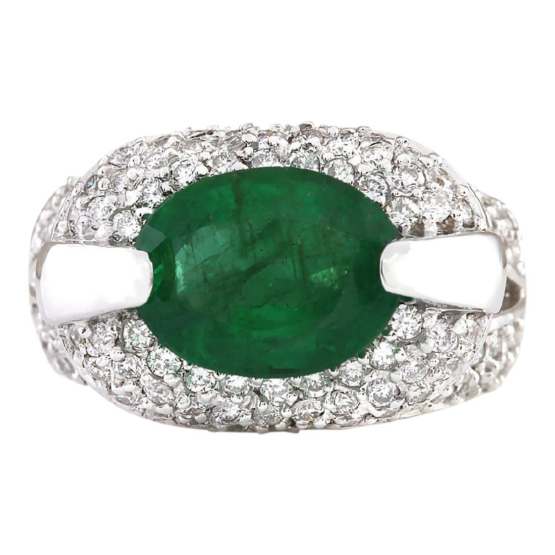 5.08 CTW Natural Emerald And Diamond Ring In 18K White
