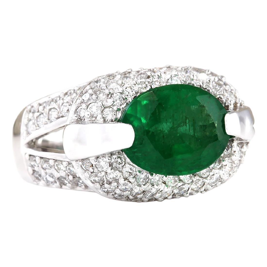 5.08 CTW Natural Emerald And Diamond Ring In 18K White - 2