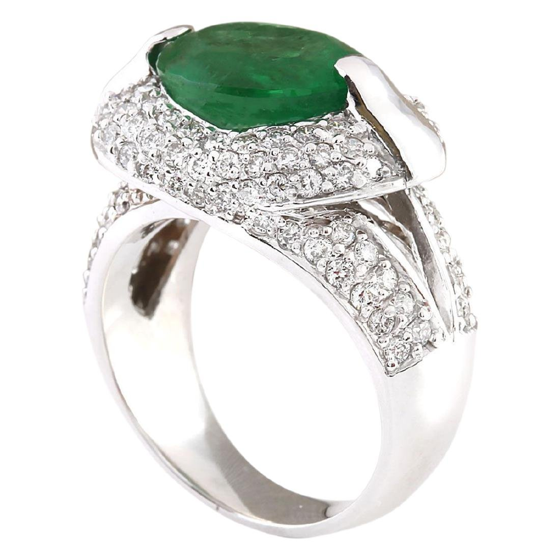 5.08 CTW Natural Emerald And Diamond Ring In 18K White - 3