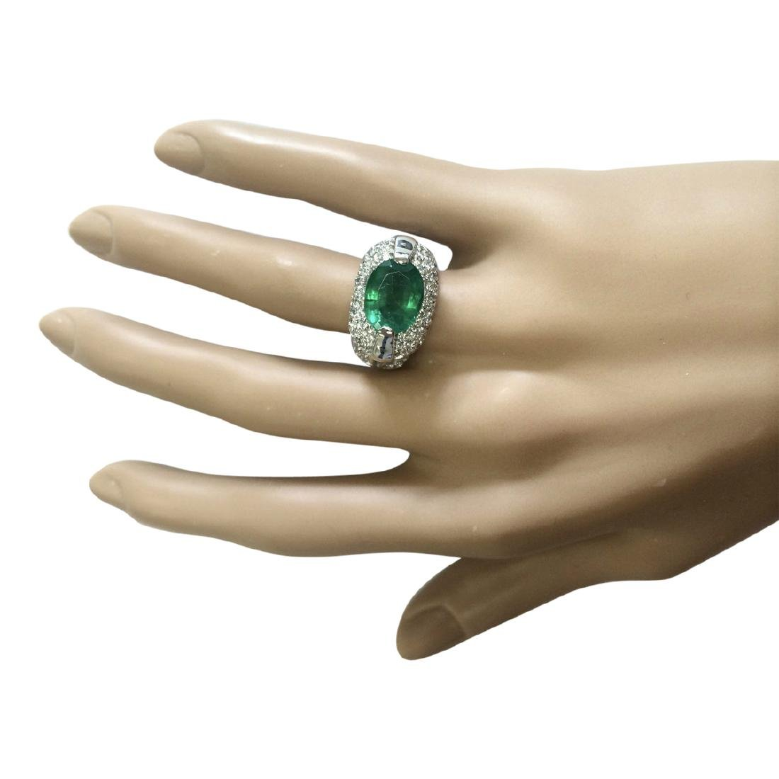 5.08 CTW Natural Emerald And Diamond Ring In 18K White - 4