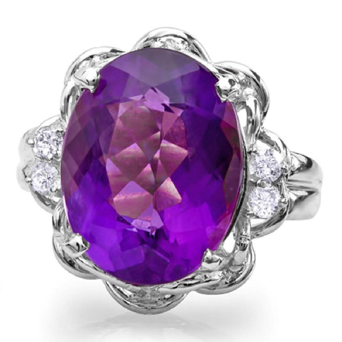 9.23 Carat Natural Amethyst 18K Solid White Gold