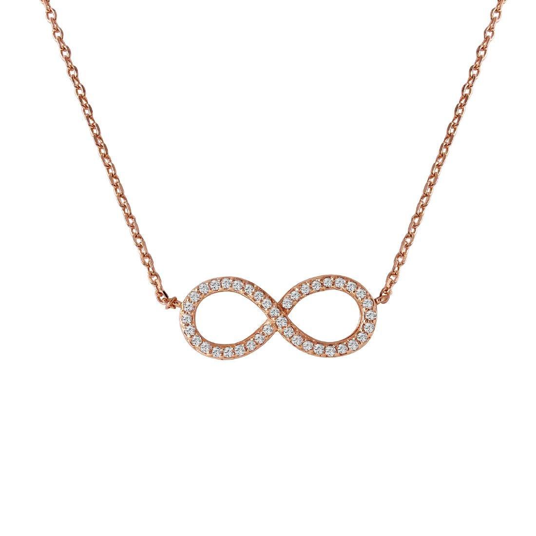 0.18 Carat Natural Diamond 18K Solid Rose Gold Necklace