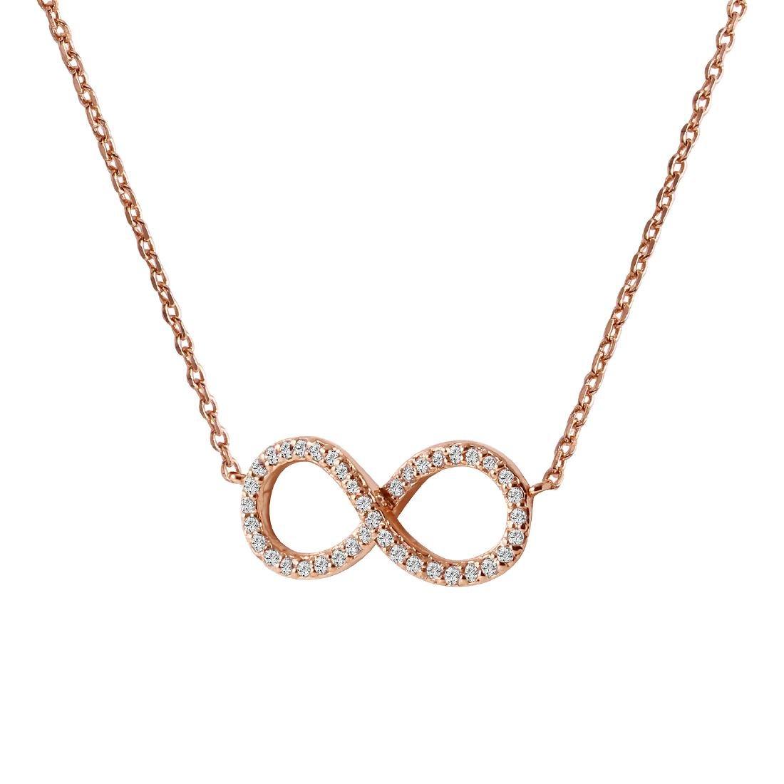 0.18 Carat Natural Diamond 18K Solid Rose Gold Necklace - 2