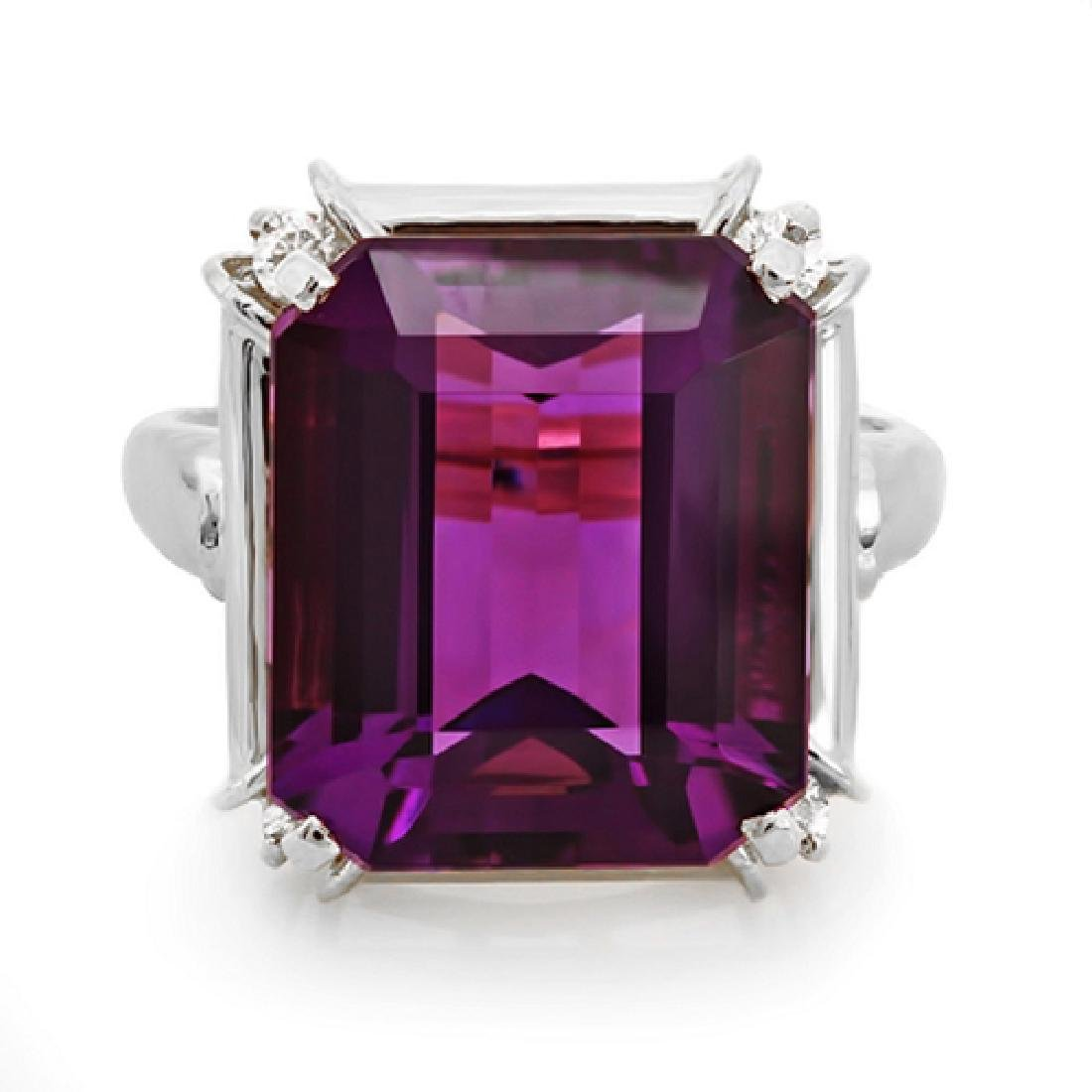 8.65 Carat Natural Amethyst 18K Solid White Gold