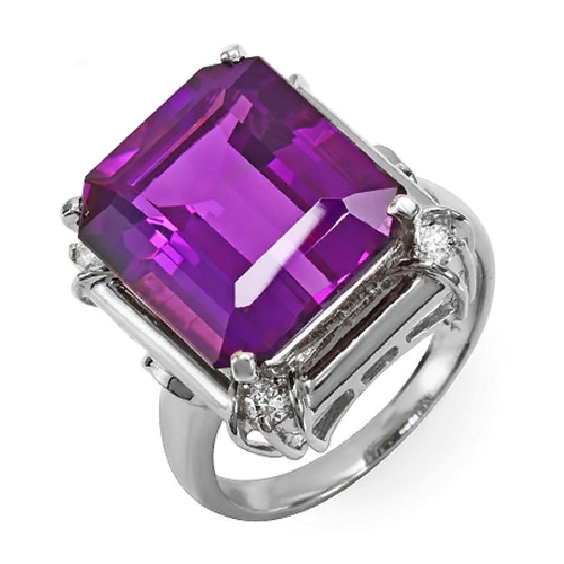 8.65 Carat Natural Amethyst 18K Solid White Gold - 2