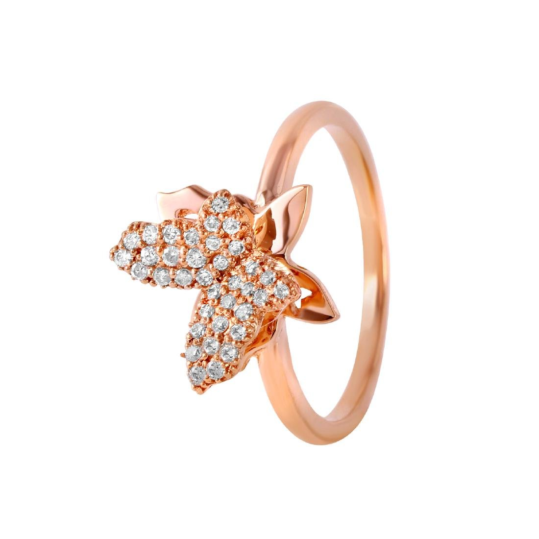 0.21 Carat Natural Diamond 18K Solid Rose Gold Ring
