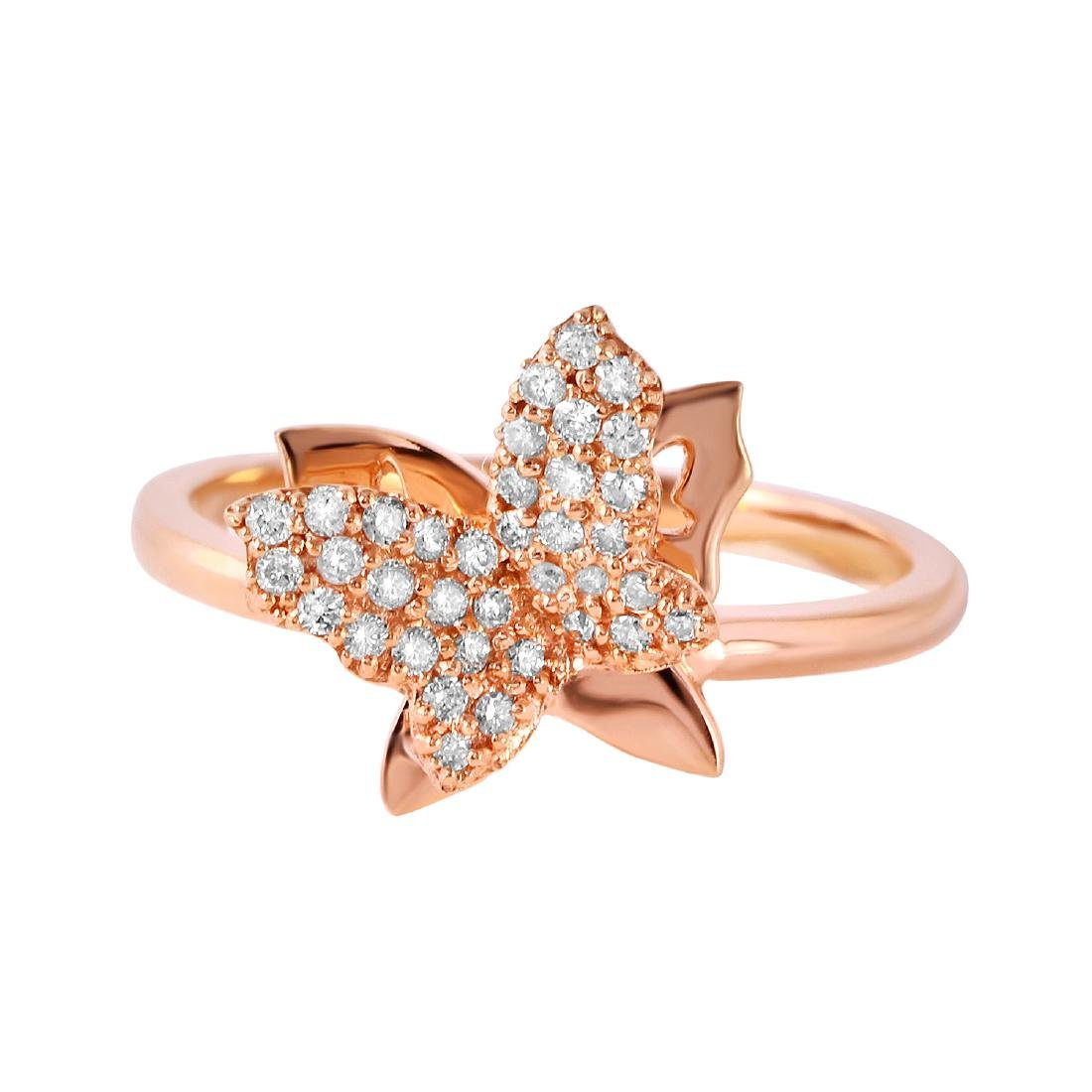 0.21 Carat Natural Diamond 18K Solid Rose Gold Ring - 2