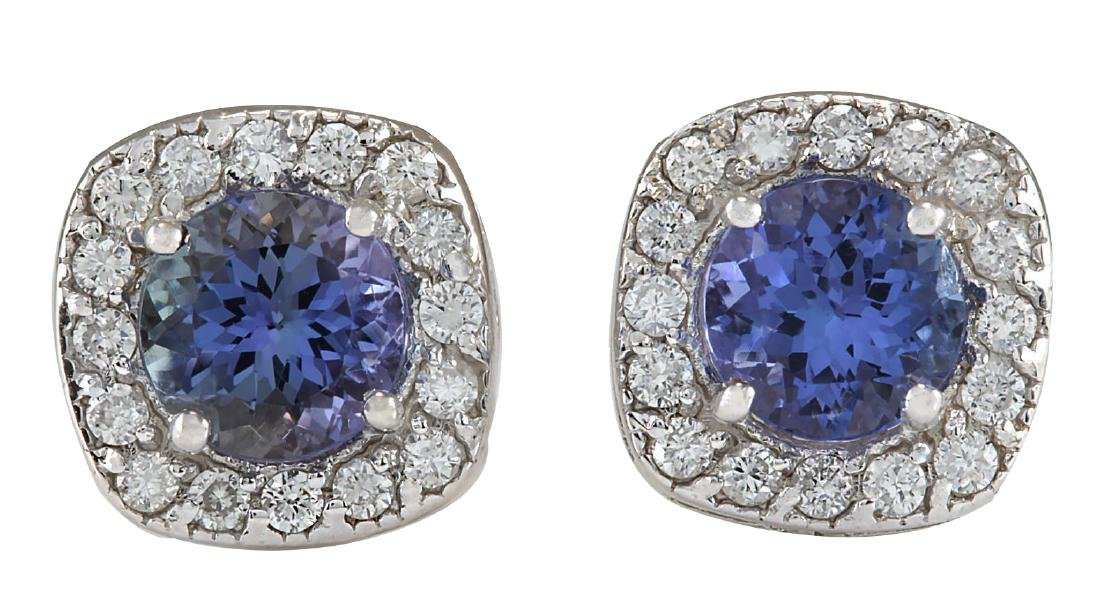 2.97CTW Natural Tanzanite And Diamond Earrings 18K
