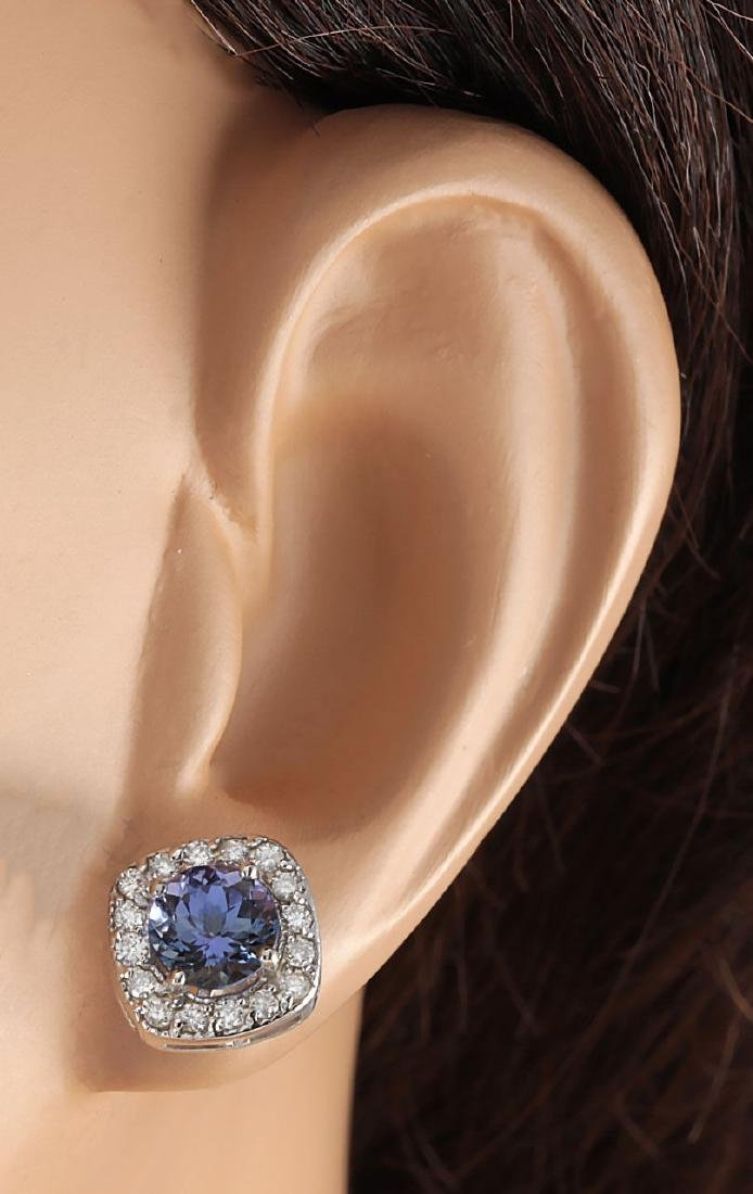 2.97CTW Natural Tanzanite And Diamond Earrings 18K - 3