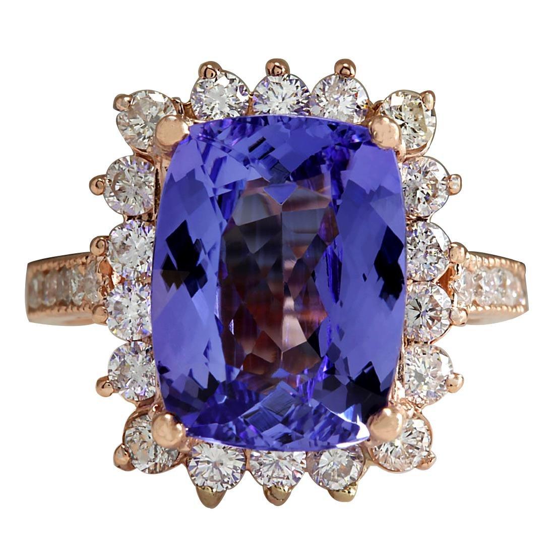 6.89CTW Natural Blue Tanzanite And Diamond Ring 18K
