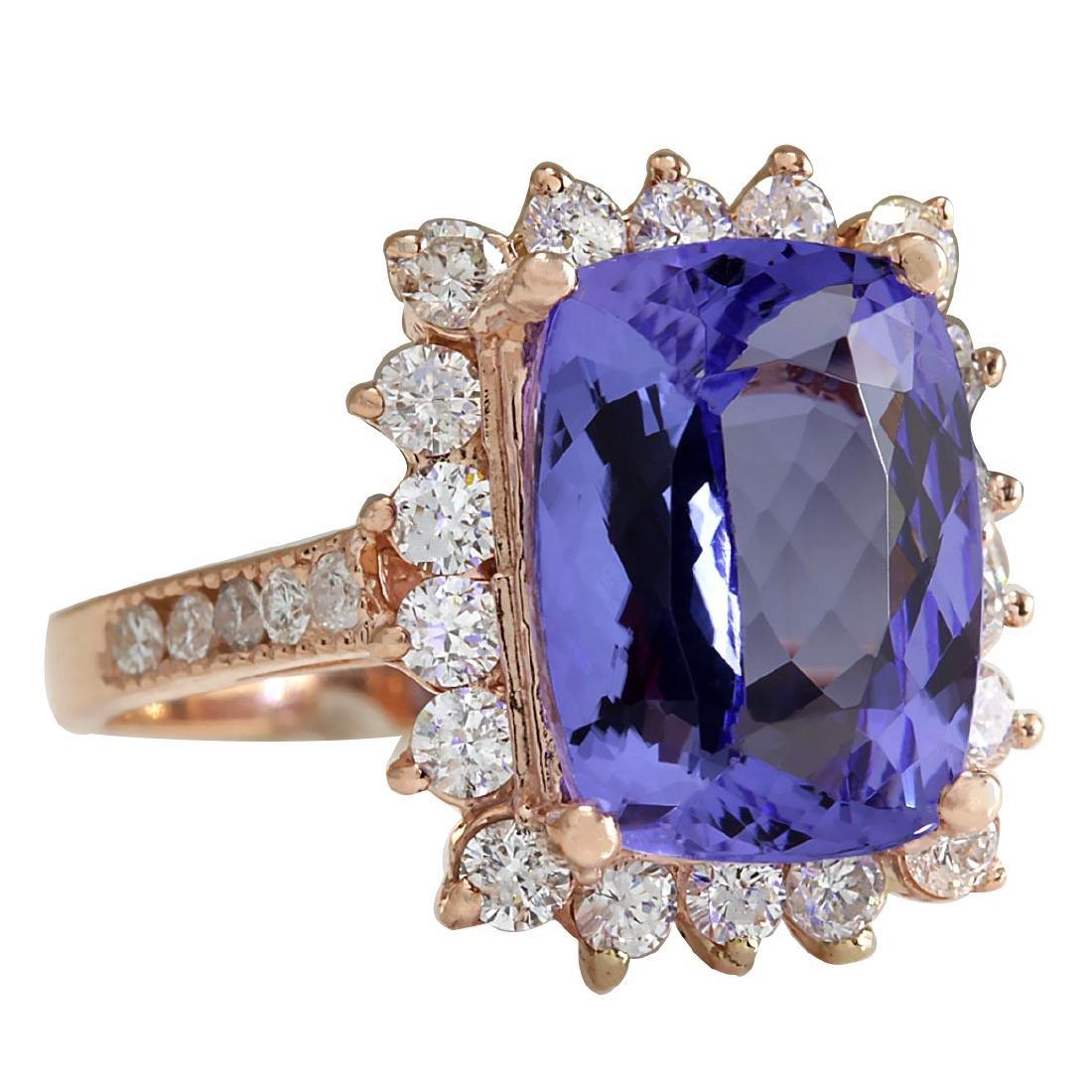 6.89CTW Natural Blue Tanzanite And Diamond Ring 18K - 2