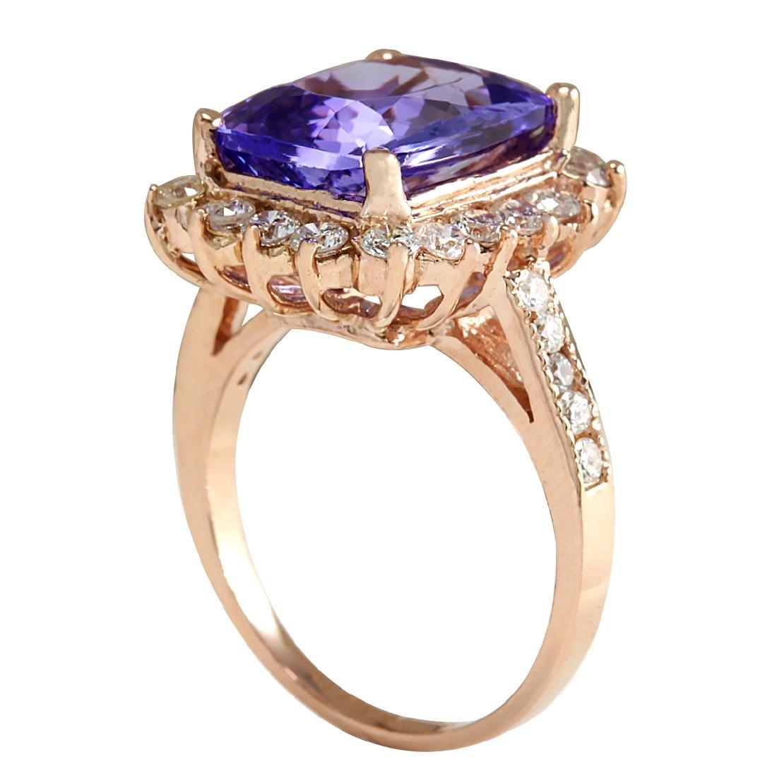 6.89CTW Natural Blue Tanzanite And Diamond Ring 18K - 3