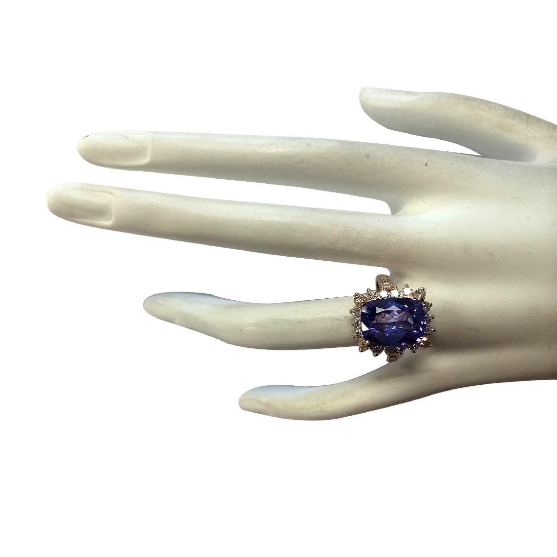 6.89CTW Natural Blue Tanzanite And Diamond Ring 18K - 4